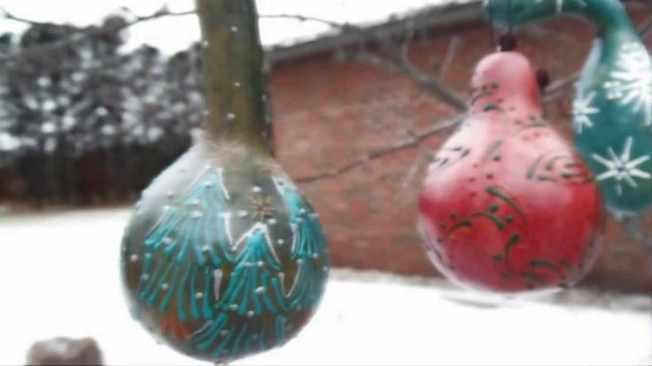 Painting with Wax on Dyed #Gourds by Bernadette Fox.
