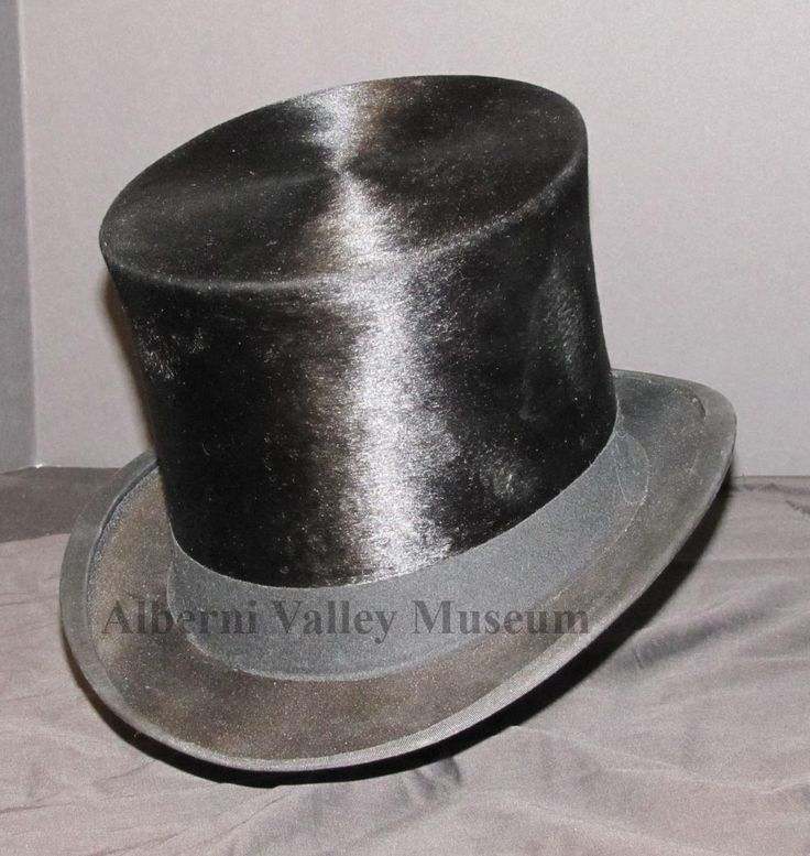 Top hats first appeared on the fashion scene at the end of the 1700s, and went through several design and material variations before they became the formal occasion headgear in the 1900s.  This hat, that belonged to Mr. Walter Precott, dates from 1895-1915.  [Alberni Valley Museum Collection 1979.54.10]