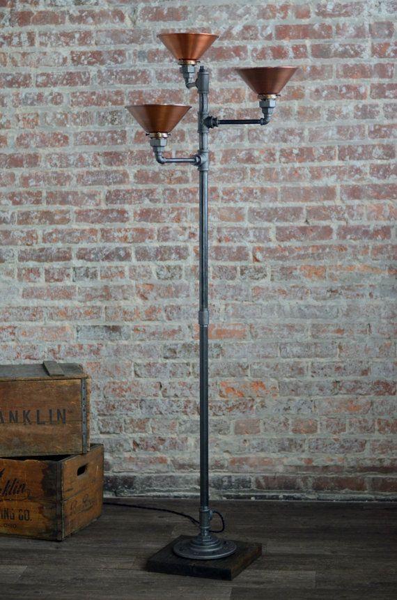 Torchiere Floor Lamp Copper Shade Industrial Floor Lamp