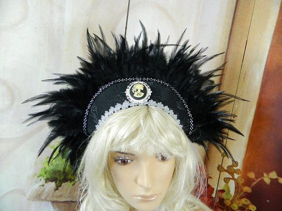 French Hood black feathers Cameo Gothic Tudors Larping Crown Tiara Diadem Medieval bridal wedding priestress Fairy Elv