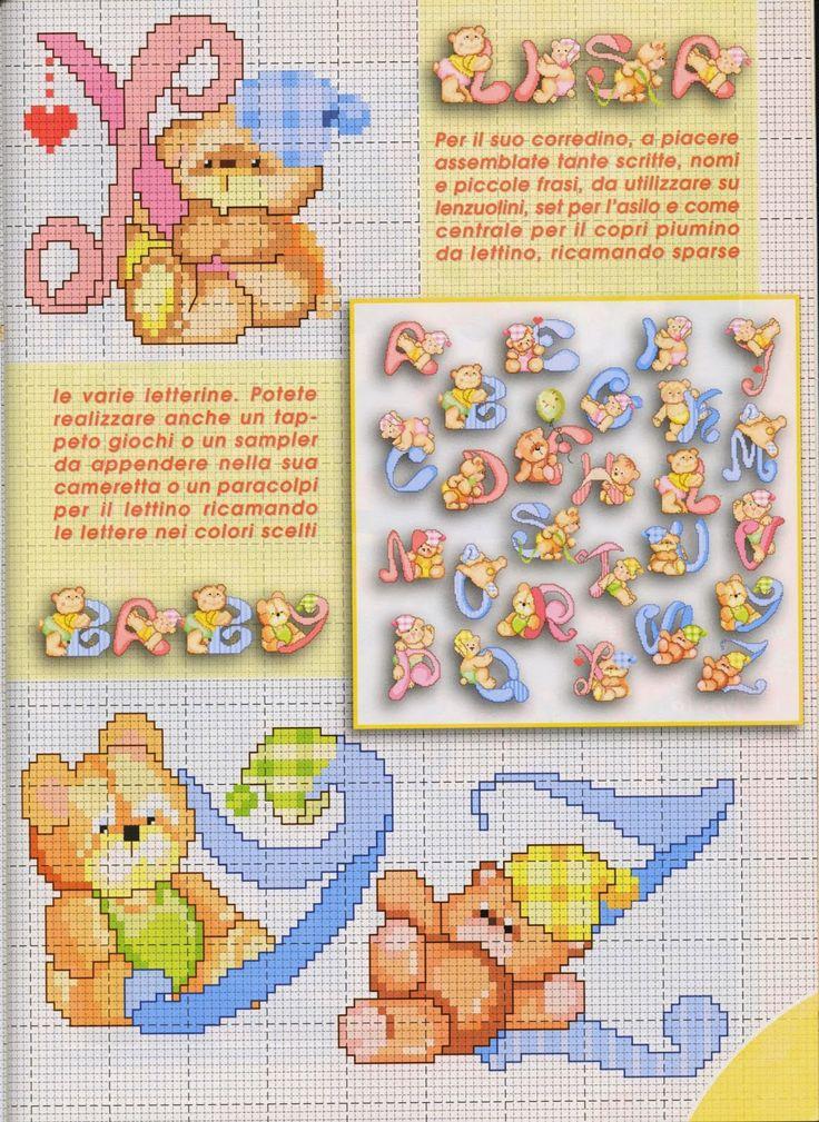 Olá meninas, trazendo gráficos italianos desta vez. Um lindo monograma de ursinhos para vocês bordarem, realmente muito fofo!      (Clique n...