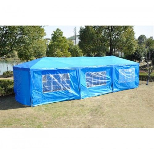 Outsunny 10 x 30 Party Gazebo Tent with 8 Walls - Blue
