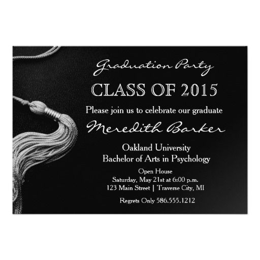 130 best unique graduation invitations images on pinterest grad tassel graduation party invitation class of 2015 5 x 7 invitation card stopboris Image collections