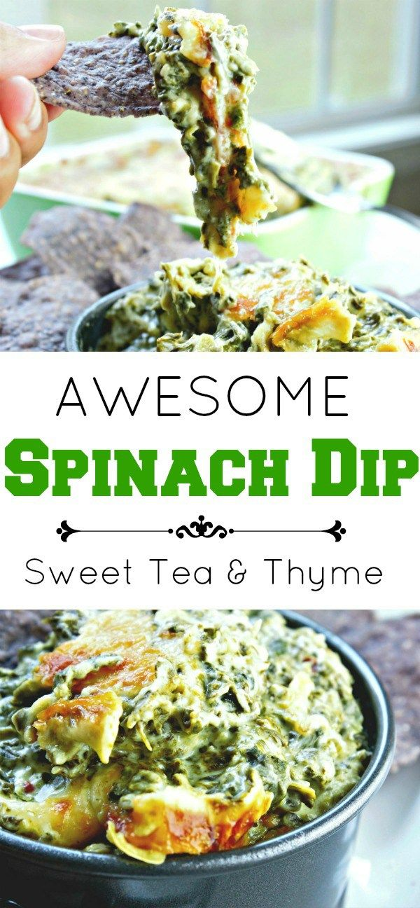And I do mean awesome. In less than 30 minutes you have hot, cheesy spinach dip bubbling out of the oven with just three ingredients. www.sweetteaandthyme.com