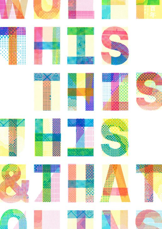 Type constructed of different colours/textures. Too playful for this job but could spark idea.