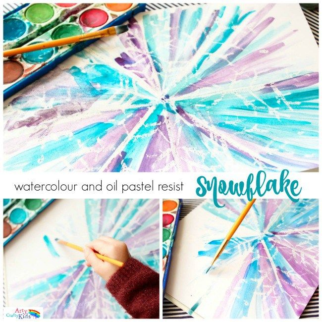 Watercolour and Oil Pastel Resist Snowflake