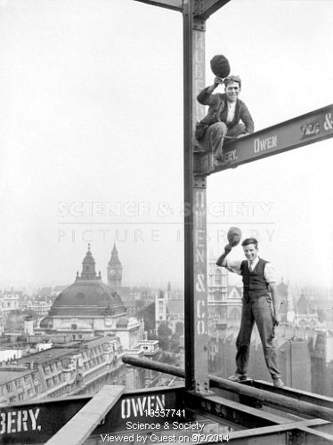 At work on London's skyscraper, New Underground HQ at St James's Park, Oct 1928