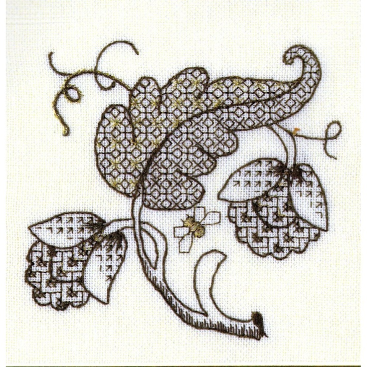Mary Jane Collection Jacobean Tile, Blackwork kit - Mary Jane Collection from Leven Crafts UK