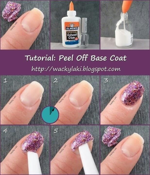 Use Elmer's glue as the base coat. The manicure will peel off neatly, and it supposedly can last for up to a week!