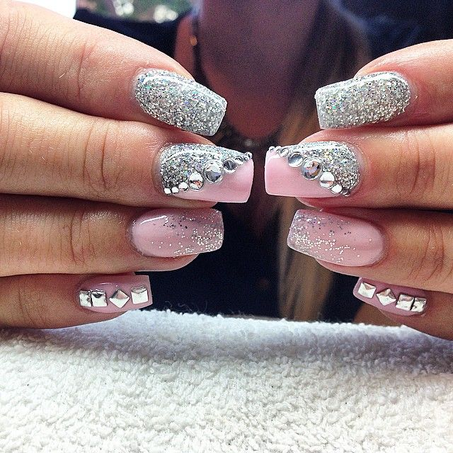 Nails by sarahssnaglar | Pink & glitter nails with crystal and studded nail art.