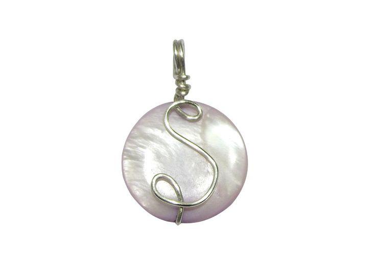 A pendant - nacre with an initial from betulek by DaWanda.com