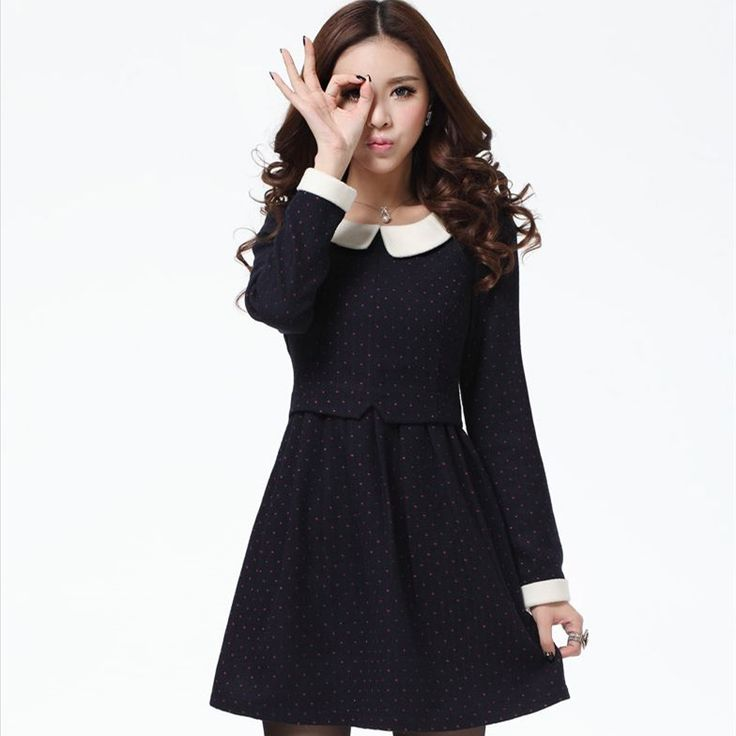 Find More Dresses Information about New Arrival 2014 Women's Sweet dot Woolen Long sleeve Dress Free Shipping Spring Autumn Winter Cute Dress Wool Material  ,High Quality Dresses from Tina Fashion Woman Clothing Store on Aliexpress.com