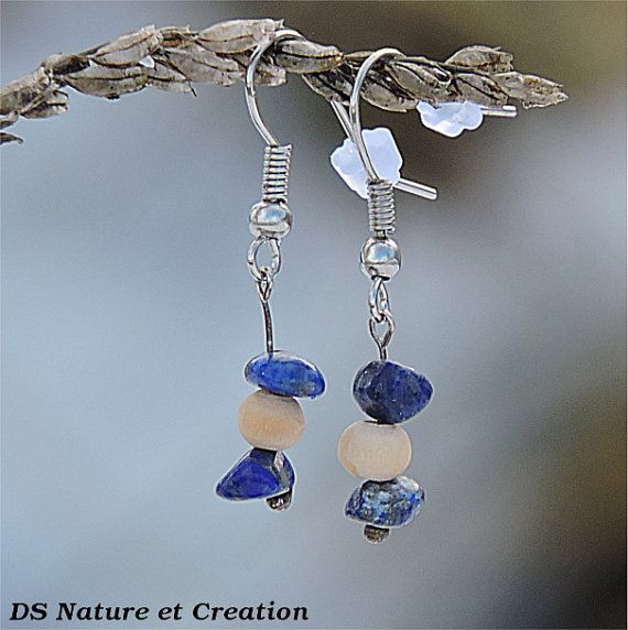 www.etsy.com/shop/DSNatureetCreation Lapis lazuli jewelry, hippie gypsy earrings, healing stone jewelry, natural lapis lazuli earrings natural stone earring gypsy hippie jewelry