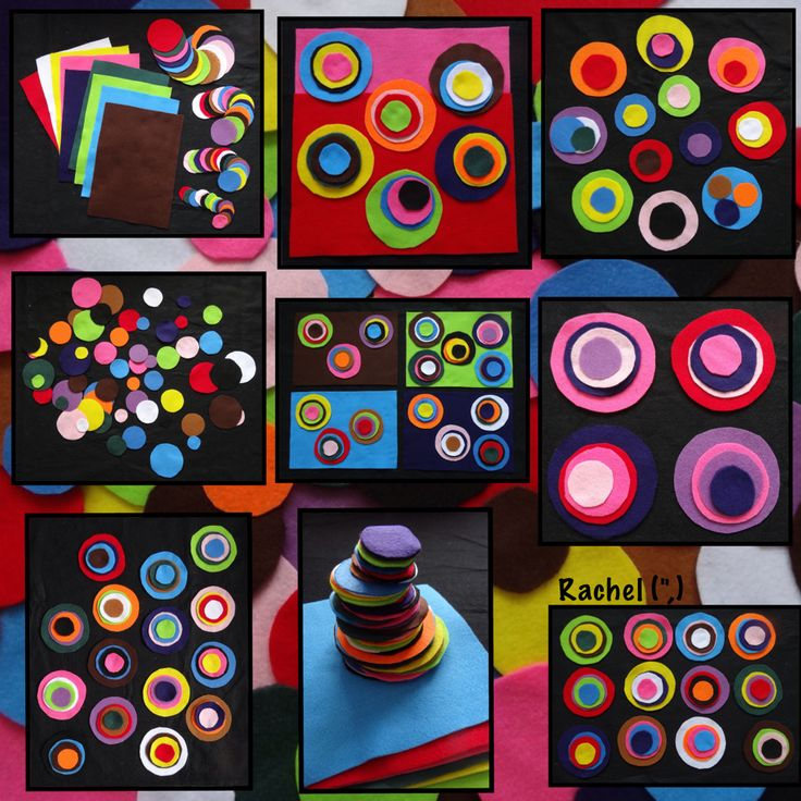 """Felt pieces and circles from Rachel ("""",)"""