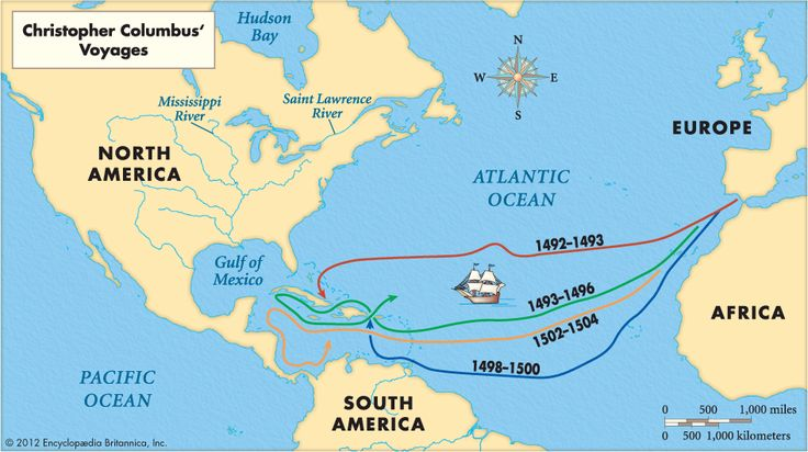 Map of Cristopher Columbus' voyages...print on legal size paper.