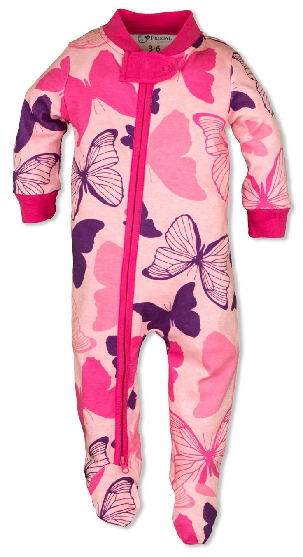 Baby Girl Pajamas Pink Butterflies Zipper Sleeper