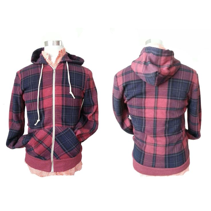 #ebay Alternative Men Size S Fleece ZIp Hoodie Red Black Plaid Pattern withing our EBAY store at  http://stores.ebay.com/esquirestore