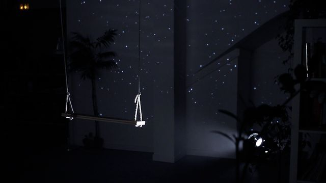 Starfield by lab212. Starfield is an installation where a swing is used to create a large interactive starry sky.