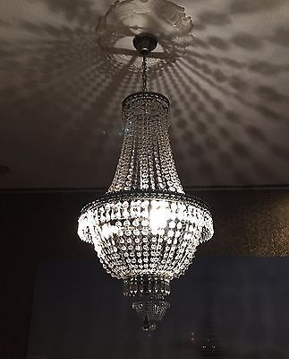 Kronleuchter Kristall 75cm Hhe Korbleuchter Deckenlampe Hngelampe Lampe Neu