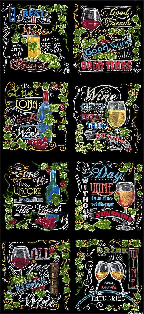 "Vineyard - Chalkboard Wine Tour - 24"" x 44"" PANEL - Quilt Fabrics from www.eQuilter.com"