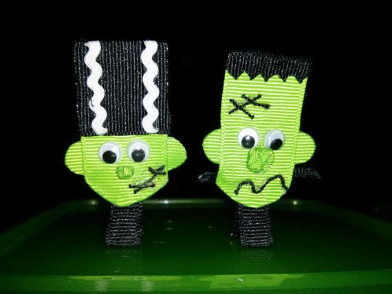 From ScrapManiacShop: Frankenstein and Frankenstein's Bride Halloween Ribbon Sculpture Hair Clip Bow with Googly Eyes on Partially Lined Alligator Clip