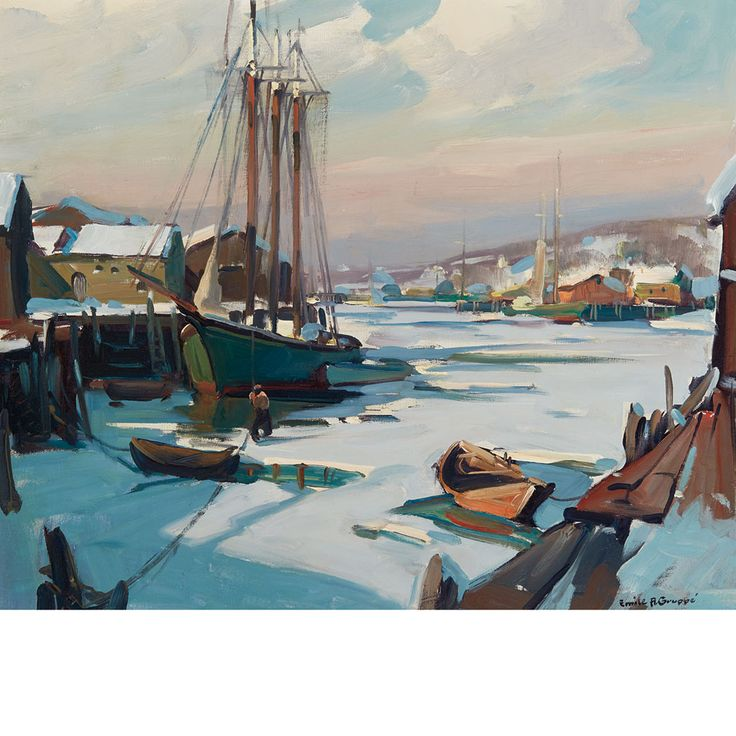 """Gloucester Harbor Frozen Over,"" Emile Albert Gruppe, oil on canvas, 25 x 30"", private collection."