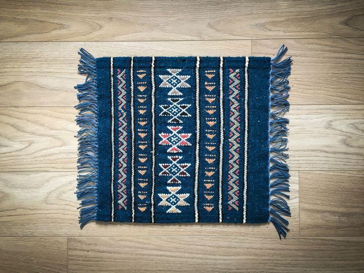 Wool Door Mat Natural Kilim Rug - Berber Tribal Design 42 x 42cm Wool - Blue by Ezooc on Etsy https://www.etsy.com/listing/451555022/wool-door-mat-natural-kilim-rug-berber
