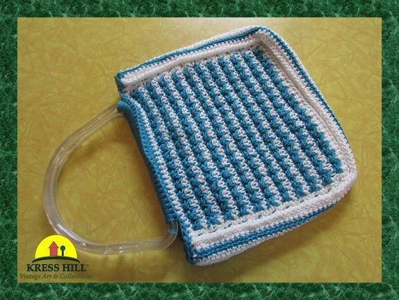 Retro Macrame Purse Handbag Green And White by KressHillVintage