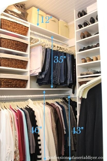"Create separate spaces in your closet to get more space. You only need 35"" to hang pants and 43"" for most shirts. Adjust accordingly!"