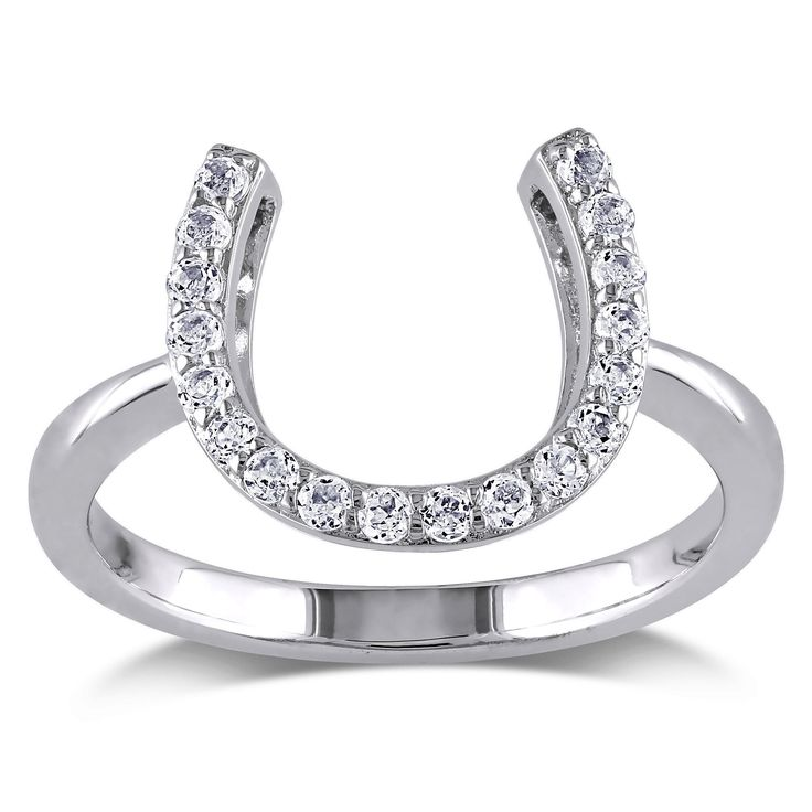 Miadora Sterling Silver Topaz Horseshoe Ring