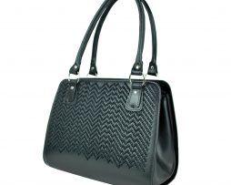 Ručne vyšívaná pracovná kabelka z pravej kože v čiernej farbe (7)