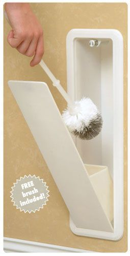 Toilet bowl brush hidden in the wall. hidden stora…