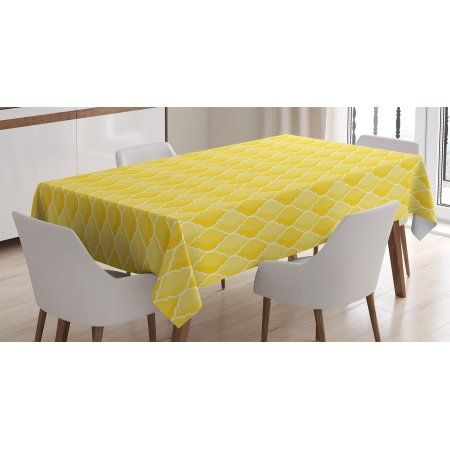 Yellow Decor Tablecloth Quatrefoil Moroccan Themed Oval Geometric