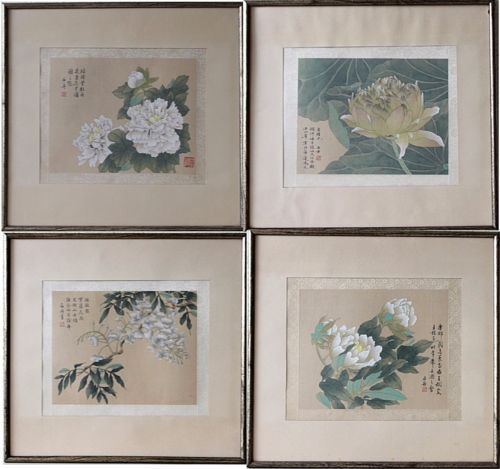 Framed-Chinese-Painting-on-Silk-Flowers-Vintage-signed