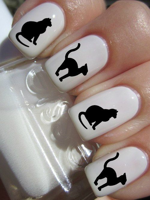 Black Cat Halloween Nail Decals