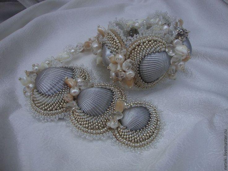 Купить Комплект с морскими ракушками.(4) - серебряный, кулон с ракушками, браслет с ракушками, комплект с ракушками