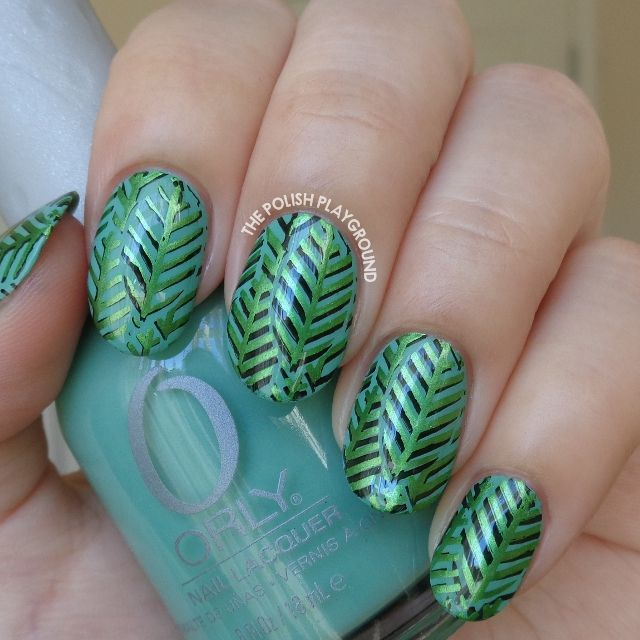 Layered Green Leaves Stamping