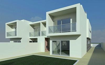 Casas geminadas. Projeto da autoria da arquiteta Paula Tinoco, Gaape.  Gaape - Arquitectura, Planeamento e Engenharia: Arquitetura (Habitações)