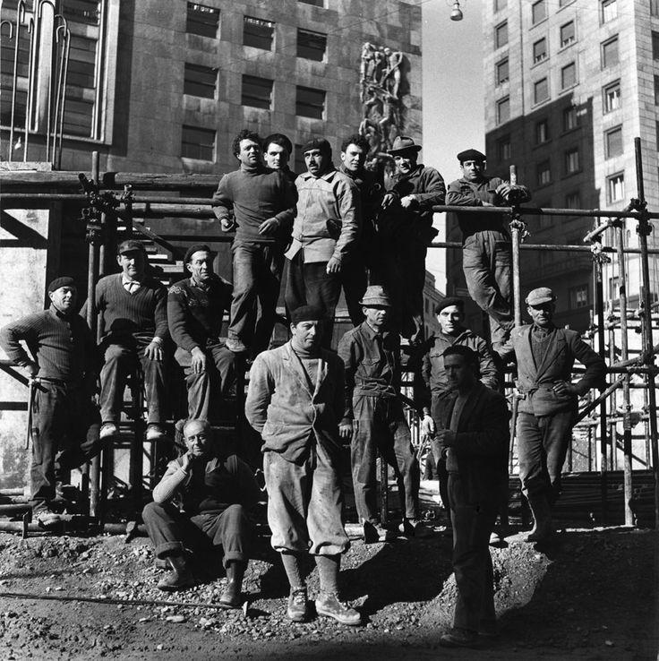 "Underground Workers - ""Quelli della metropolitana"" series. Emilio Frisia. 1959 From IERI OGGI MILANO Exhibition"