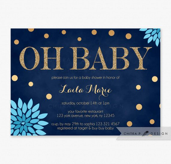 Navy & Blue Baby Shower Invitations with white envelopes - Printed, Gold Glitter Floral Couples Twins Confetti Oh Baby Boy Hot Sprinkle Brunch Teal Aqua - chitrap.etsy.com
