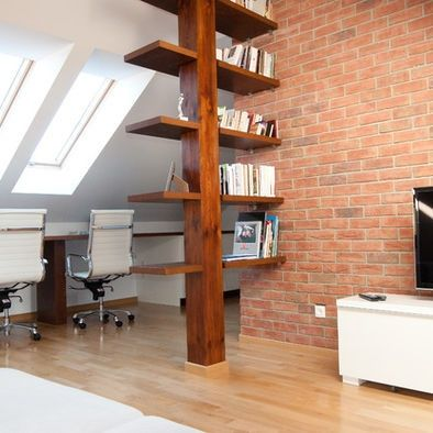support beam as bookshelf, houzz                                                                                                                                                      More