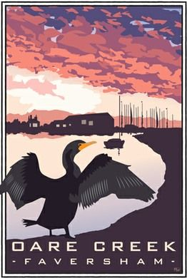 Cormorant at Oare Creek, Faversham, Kent. A4 print £12 from http://www.whiteonesugar.co.uk/country-collection/cormorant-oare-creek.htm