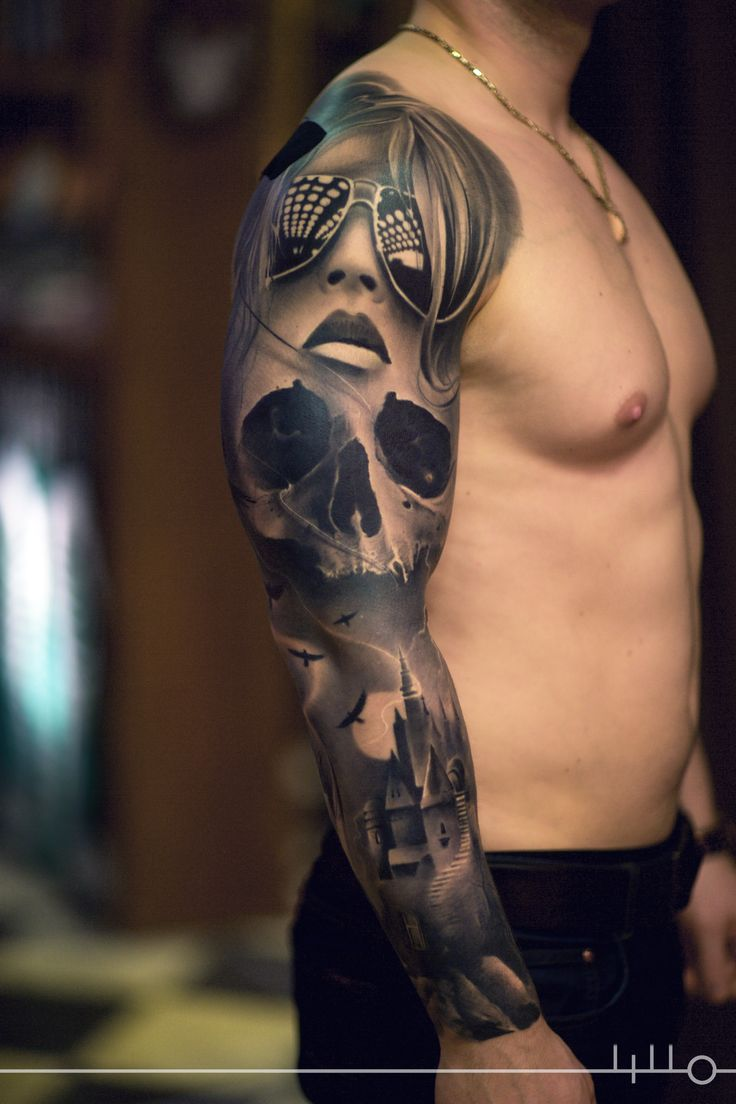Rainer Lillo Done @Backbone Tattoo Studio (Tartu, Estonia) Sleeve tattoo, dark art, castle, bird tattoo, skull, woman, realistic tattoo, Black and grey sleeve