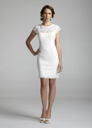 Short Lace Cap Sleeve Dress with Exposed Zipper - David's Bridal- mobile