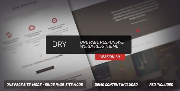 Dry  - One Page Responsive Wordpress Theme - ThemeForest Item for Sale
