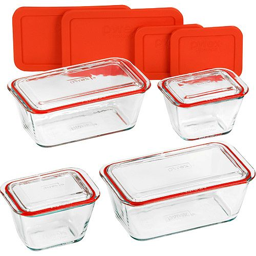 This is a great storage set; all glass with silicone gaskets.
