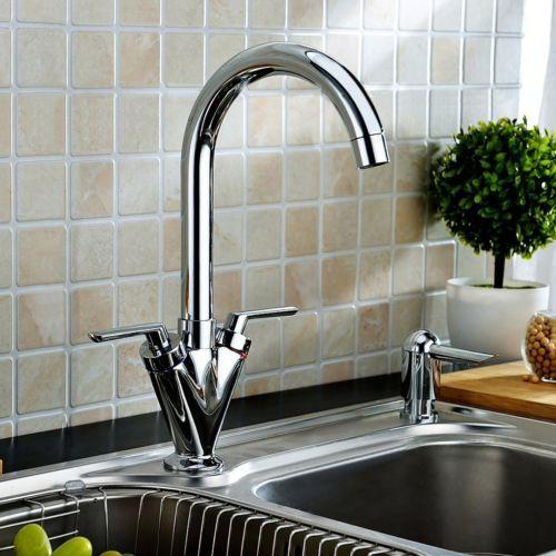 Single-hole-Kitchen-Sink-Mixer-Faucet-Tap-Two-Handles-Swivel-Spout-Chrome-Brass