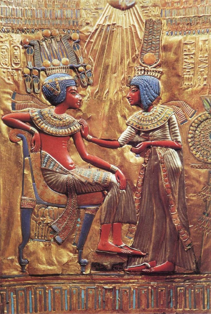 Tutankhamen with His Queen Ankhesenamen – detail on the back of the throne of King Tutankhamen, from the tomb of Tutenkhamen, Valley of the Kings (c. 1355-1342 BC) carved wood covered with gold and inlaid with faience, glass paste, semiprecious stones and silver Cairo, Egyptian Museum