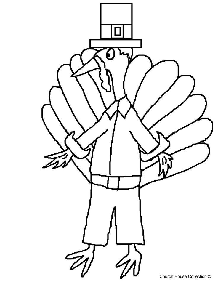 Thanksgiving Pilgrim Turkey Coloring Page