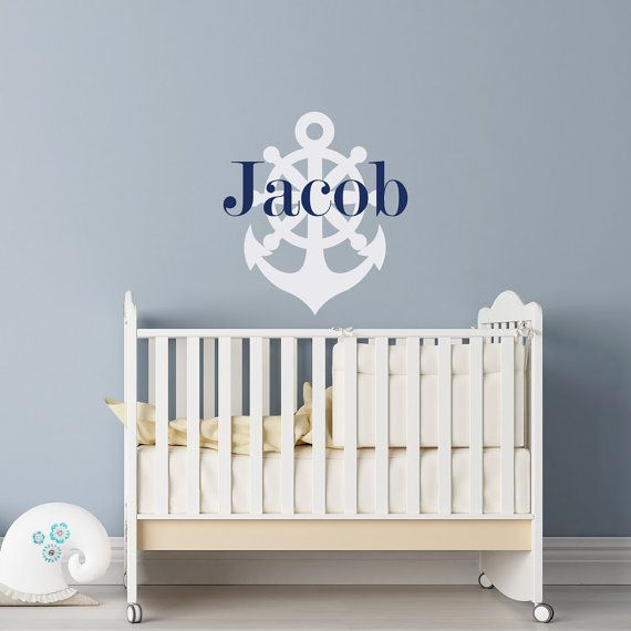 Nautical Name Wall Decal  Personalized Anchor Name Decal  #anchor #nursery #boy #ideas #decor #personalized #name